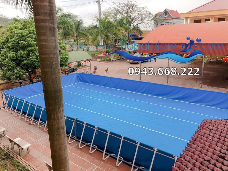 hình ảnh hồ bơi bạt khung kim loại tại trường cấp 2 Hưng Yên chụp từ trên cao